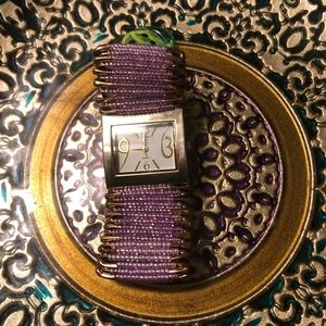 """EUC Woman's """"Purple and Gold"""" Stretch Beaded Watch"""